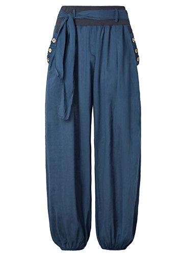 BAISHENGGT - Femme Pantalon bouffant Harem Extensible Casual Pants Marine S