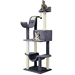 Finether Cat Furniture Cat Tree Cat Tower Cat Tree Tower Cat Play Tower with Sisal Scratching Posts Hammock/Perches Platform/Dangling Ball 55 W x 45 D x 154 Hcm