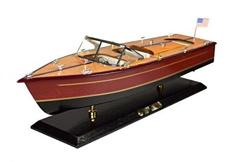 Navyline Holz Modellboot mit Standfuß - Amerikanisches Motorboot - Länge 51cm