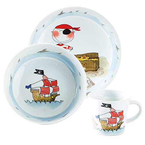 Kahla 32D200A76644C Kids Schatzpirat | Porzellan Kindergeschirr-Set | für Jungen Geschirr-Set bunt rund 3 teilig Set Tasse Suppenteller Teller