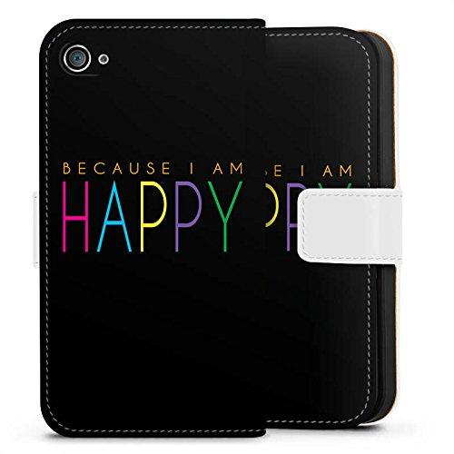 Apple iPhone X Silikon Hülle Case Schutzhülle Because I Am Happy Sprüche Statement Sideflip Tasche weiß