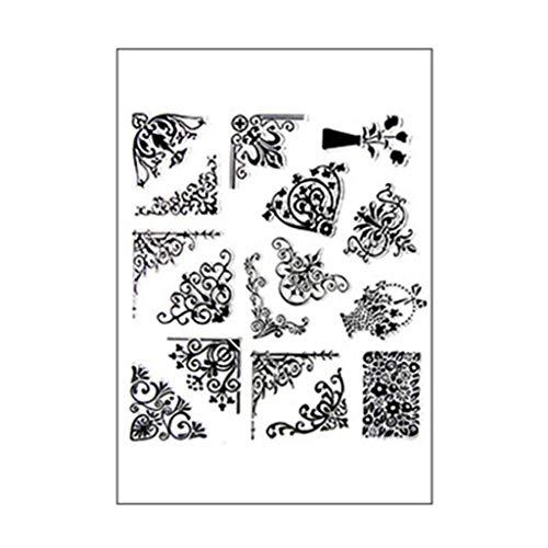 Ranuw Transparente Stempel,Ecke DIY Silikon Klar Stempel Siegel Sammelalbum Prägung Fotoalbum Dekor Papier Karte Handwerk Kunst Handgemachtes Geschenk -