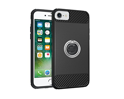 Custodia iPhone 7, iPhone 7 Cover Silicone, SainCat Custodia in Morbida TPU e Hard PC Protettiva Cover per iPhone 7, 2 in 1 Custodia Cover Shock-Absorption Antiurto 3D Design Silicone Case Ultra Slim  Nero