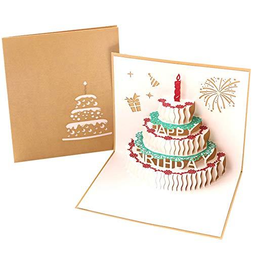 Monbedos, biglietto d'auguri di compleanno in 3d, carta regalo con torta, idea regalo per la festa della mamma o festa di compleanno, inviti di nozze golden