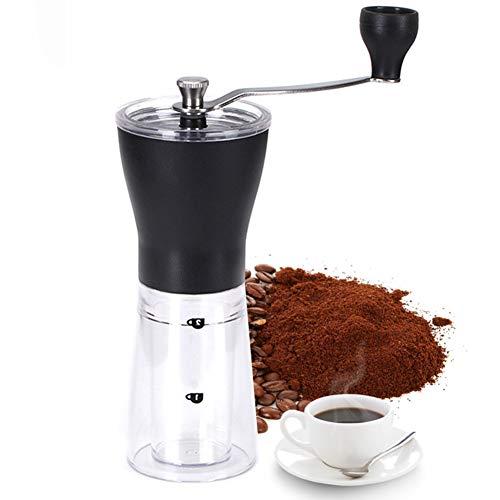 TYQIAO Manuelle Kaffeemühle Edelstahl-Körper einstellbare Keramik, bewegliche Kurbel Grinder Mill Bohnen Gewürze Brushed für Reisen oder Camping