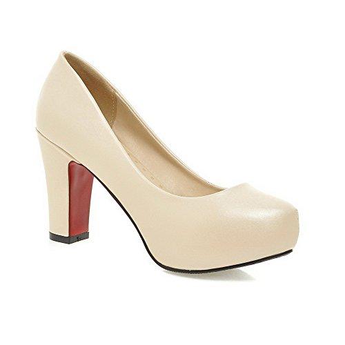 Odomolor Damen Ziehen auf PU Leder Rund Schließen Zehe Hoher Absatz Rein Pumps Schuhe, Cremefarben, 37
