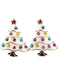 Cosanter 1 Paire Sapin de Noël Boucles D'oreilles Femme Mignon Earrings en Colorée Cristal pour Cadeau Anniversaire