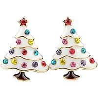 Lumanuby 2pendientes de aleación, de forma de árbol de Navidad, Pendientes de brillantes, accesorios de Navidad, decoraciones de Navidad, para mujer, blanco, 2 X 1.5CM