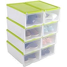 8X Cajas de Zapatos Apilable Plástica Transparente, Organizador de Zapatos, Caja de Almacenamiento, 33 x 22 x 14cm Verde, Uuhome