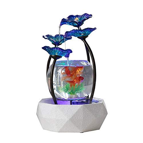 Aquarium, Brunnen Goldfisch Tank, Aquarium Mit LED-Leuchten, FüR Home/Office-Dekoration Oder Als Geschenk An Einen Guten Freund ()