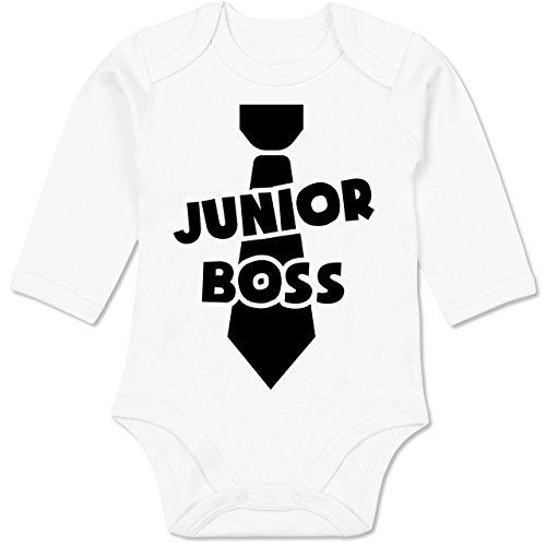 Shirtracer Sprüche Baby - Junior Boss - 6-12 Monate - Weiß - BZ30 - Baby Body Langarm