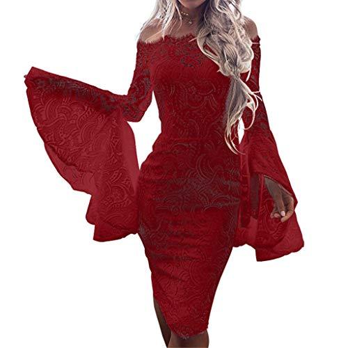 Linkay Kleid Damen Kurz Spitzenaufflackern Rock Sommer Schnüren Sie Sich Mantel Kleider Mode 2019 (Rot, Medium)