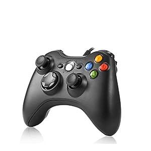 Rottay Controller PC USB Wired Gamepad für Xbox 360/Microsoft Win7/8/8.1/10 (Schwarz)
