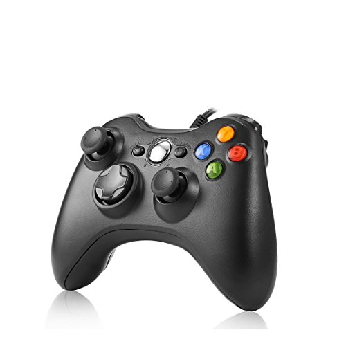 Xbox 360 Controller PC Gamepad, Rottay USB Wired Games Controller für Microsoft Win7/8/8.1/10 (Schwarz) (Wired One Controller Xbox)