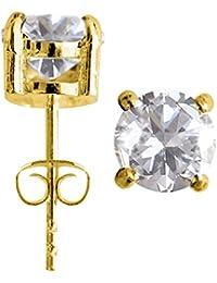 Boucles D'oreilles Argent Design Rond Solitaire Plaqué Or - 18k plaqué or - cristal CZ - emballé dans une jolie pochette en velours