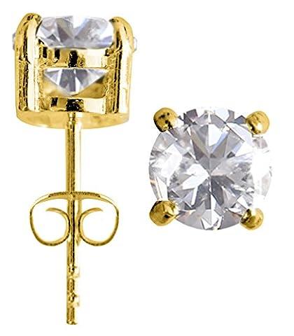 0.2 cttw (3MM) 14K Plaqué Or 925 Clous D'oreilles Argent Sterling Rond Diamant Synthétique - par - emballé dans une jolie pochette en velours