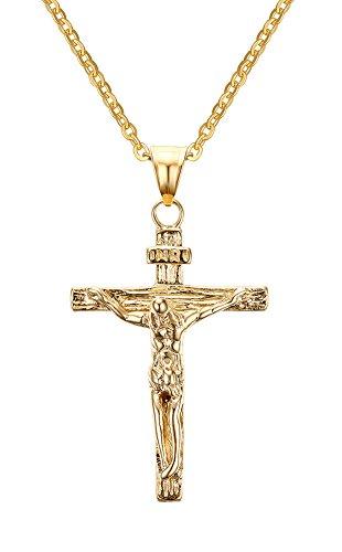 Cristiana de Jesús crucifijo cruz colgante de acero inoxidable, collar para hombres mujeres, Oro, sin cadena