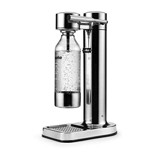 Aarke - Wassersprudler zum Sprudeln von Leitungswasser, inkl. PET-Flasche (BPA frei), Farbe: Silber / polierter Stahl