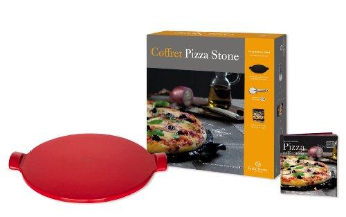 Emile Henry - Geschenkset Pizza-Stein - 3-teilig - rouge / rot