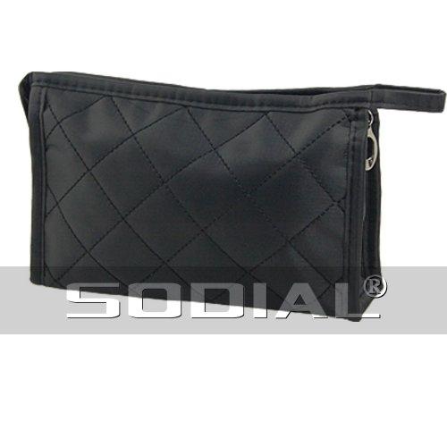 SODIAL(R) Noir Petit sac cosmetique a fermeture eclair Motif de quadrillage