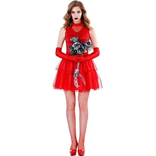 Queen Xl Sexy Böse Kostüm - Halloween Kostüm Adult Red Ghost Bride Bühnenkleid Easter Day Performance Kostüm Vampire Wicked Queen,Red,XL