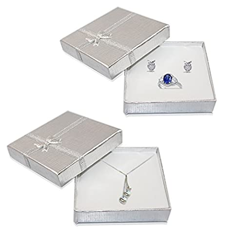 JJOnlineStore - Luxury Jewellery Gift Boxes Box for Pendant Bracelet Earring Necklace Ring Shop Home Birthday Xmas Presents (6 x Large, Silver)