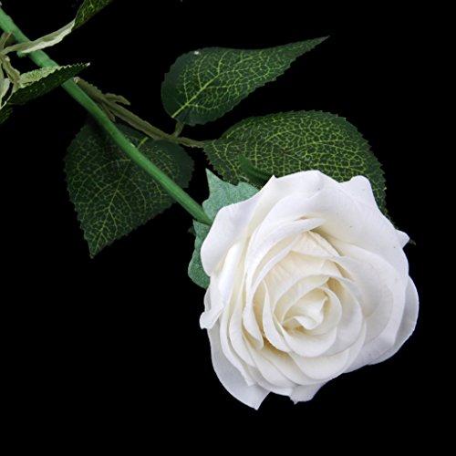 Sharplace Künstliche Seiden Blume Rose mit Grün Blättern für Haus Hochzeit Dekor Das Symbol für Liebe - Weiß, 7cm