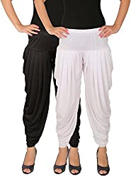 Dhoti Pants Women - Culture the Dignity Womens Lycra Side Plated Dhoti Patiala Salwar Harem Pants Combo - SPL_DH - BW - Pack of 2 - Black - White