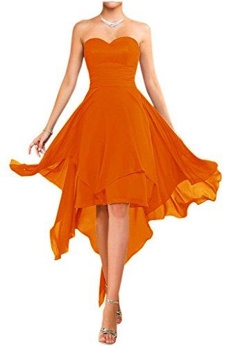 Victory Bridal Modisch Traegerlos Abendkleider Kurz Chiffon Sommerkleider Tanzkleider Brautjungfernkleider Orange