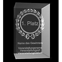 VIP-LASER 3D Glaskristall Lorbeerkranz Glas Pokal 1. Platz mit Deinem Wunschtext - für immer in Glas graviert! Der persönliche Pokal / Trophäe für jeden Veranstalter oder zum Angeben!