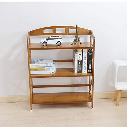 YANG Hauptschlafzimmer-Bücherregal-Bücherregal-Bambuskunst 3 Schichten Schlafzimmer-Speicher-Regal 50 * 26 * 91Cm, Studentenschlafsaal-Bett Bücherregal -