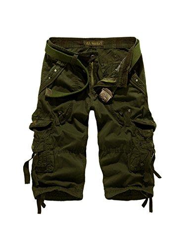 Menschwear Herren Vintage Cargo Shorts Bermuda Kurze Hose Sommer Kurze Hose militärin Grün