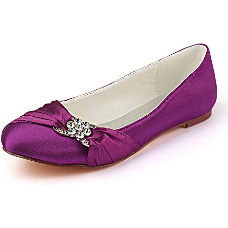 Emily Bridal Chaussures de Mariage en Satin Bout Rond Slip Strass Plissé Slip Rond on Chaussures Plates - B07K9SH4JG - cd5536