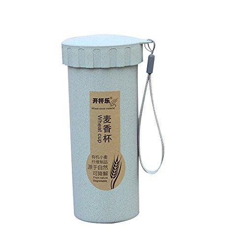 NEEKY Trinkflasche Wasserflasche Fahrrad Outdoor Fitness Sportflasche - 450 ml Natur Weizenstroh Tragbare Bottles Getränkebehälter Becher