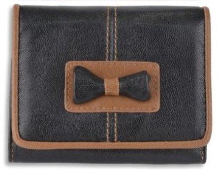 Eye Catch - Lourdes Damen Geldbörse aus Kunstleder mit kleiner Fliege schwarz tan -