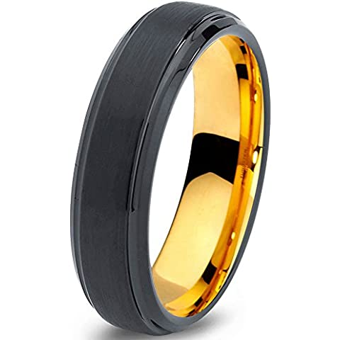 Tungsten Wedding Band Ring 6mm for Men Women Black & 18K Yellow Gold Beveled Brushed Polished Lifetime