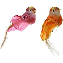 Homyl Baumschmuck Vögel, 2 Stück, Tisch- und Raumdeko, mit Clip/ohne Clip - 4, mit Clip