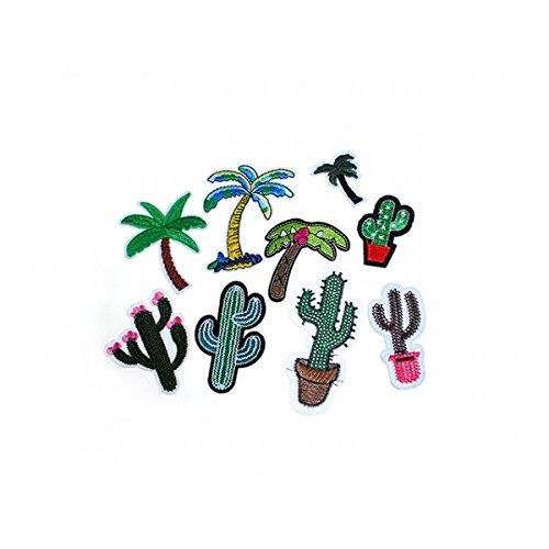 creafirm – Pack 9 Patch Patches Flicken, exotische Kaktus Palmen (Gestickte Palme)