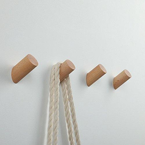 Holz Kleiderhaken【5 Stück】,EAHOME Natürliche Wand montiert Kleidung Schal Hut Tasche Lagerung Kleiderbügel Handtuchhalter Schlafzimmer Dekoration Pflöcke, Durchmesser 30mm - Vintage Aus Holz Kleiderschrank
