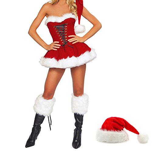 Für Erwachsene Kostüme Sexy Santa (Damen Weihnachten Bekleidung Weihnachtskostüm Weihnachtsmann Kostüm Santa Kostüm Kleid Weihnachtsparty Fancy)