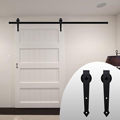 Preisvergleich Produktbild LWZH 7.5FT(229cm)Beschlagset für Schiebetür des Getreidespeichers, im amerikanischen Stil, für Einzeltüren/Doppeltüren geeignet (schwarze,Pfeil förmige Schiebetürbeschlag)