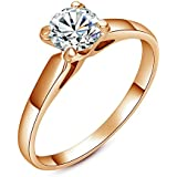 Yoursfs Classic Simple Four-prong 18k Gold Plated Band with 1ct Simulated Diamond Engagement Rings