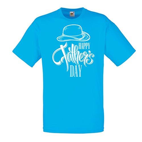 Männer T-Shirt Glücklicher Vatertag - bestes Geschenk von Sohn oder Tochter (Medium Blau Mehrfarben)
