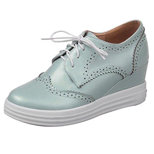 COOLCEPT Damen Mode Keilabsatz Heel Schnurung Pumps Schuhe Oxford Black Size 34 Asian