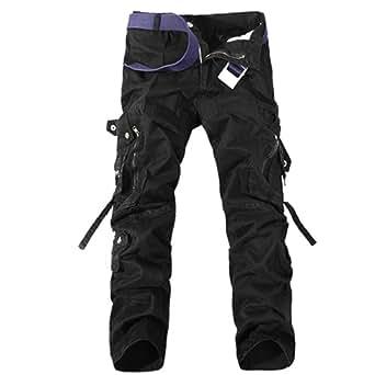Aubig Homme Coton Pantalon de travail Noir Cargo Jeans Militaire Salopette - Taille asiatique 36