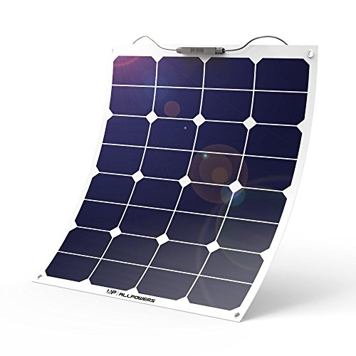 ALLPOWERS 12V 18V 50W Solar Panel SunPower Célula Placa Solar Portatil Flexible Fotovoltaico Módulo Cargador Batería Ligero Impermeable con Mc4 Conector para RV, Barco, Cabina, Tienda de Campaña, Coche, Acoplado