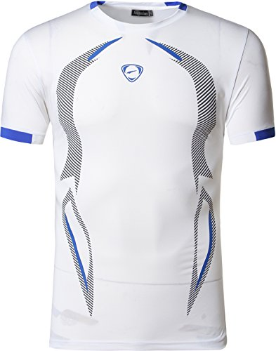 jeansian Herren Sportswear Quick Dry Short Sleeve T-Shirt LSL133 LSL187_White