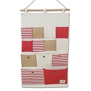 Eachgoo Hängende Aufbewahrungstasche, Wasserdichte Hängeorganizer -13 Taschen (Rot)