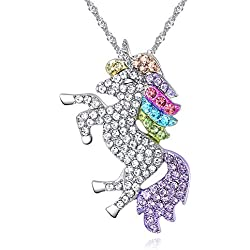 Scrox 1pcs Colgantes Mujer Plata Unicornio Niña Rhinestones Crystal Collares Joyas para Mujer Plata Regalos Originales para Mujer (Coloreado)