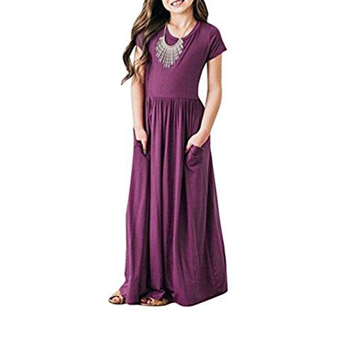 JERFER Mädchen Kleinkind Baby Mädchen Solid Dress Kids Casual Sommerkleid Beachwear Kleider Outfits